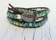 Turtle Bracelet, Blue and Green Wrap Bracelet, Double Leather Wrap, Turtle…