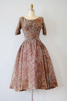 vintage 1950s gingham pink brown floral print silk dress