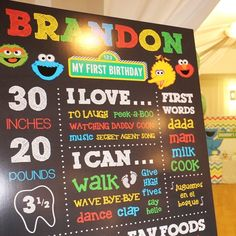 Sesame Street theme first birthday party // All about me birthday sign