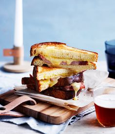 Barrio Collective's bacon and cheese toasties :: Gourmet Traveller food photography, food styling Bacon Recipes, Chef Recipes, Fall Recipes, Snack Recipes, Soup And Sandwich, Sandwich Recipes, Sandwich Board, Poached Eggs On Toast, Cheese Toasties