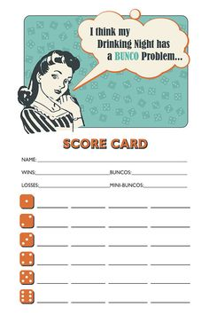 Downloadable Retro Housewife Printable Bunco Scorecard and Table Marker Set