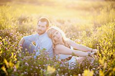 Vintage Engagement by Blue Dandelion Photography    Love it! Wild flowers and sun flare!!