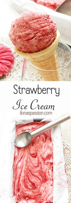 The Best, Easy & No Churn strawberry ice cream recipe by ilonaspassion.com #nochurn #icecream #strawberry #balsamicvinegar