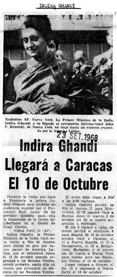 Visita de Indira Gandhi a Caracas. Publicado el 23 de septiembre de 1968.