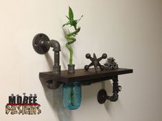 Black Pipe Shelf with Clock Pipe Tee and Mason Jar Vase, $129.97