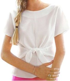 Generic womens solid color short sleeve T-shirt with bowknot *** You can find more details by visiting the image link.