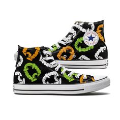 These Spooky Color Plastic Fangs Halloween Converse High Top chucks are made to order especially for you and feature Colored Plastic Fangs pattern covering both panels of the shoe. Each pair is custom