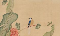 Detail. Bird on a Plantain Tree. 伊藤若冲 ITO Jakuchu (1716-1800, Japanese). Shokokuji Temple. Nara, Japan.