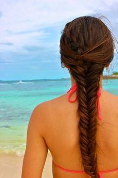 My go-to hairstyle Braided Ponytail Hairstyles, Fishtail Braids, Beach Hairstyles, Great Hairstyles, Gorgeous Hairstyles, Braid Hair, Hairstyle Ideas, Love Hair, Pretty Hair