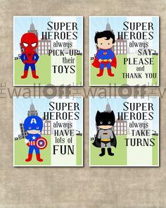 Boy Superhero Playroom Art Prints Set of four by OffTheWallbyLeah Playroom Art, Playroom Ideas, Superhero Room, Superhero Ideas, Toy Rooms, Kids Rooms, Kids Decor, Kids Bedroom, Bedroom Ideas