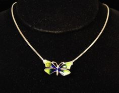 Sterling Silver Enameled Butterfly Necklace