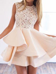 Beige Sheer Crochet Lace Panel Sleeveelss Layered Skater Dress - MYNYstyle - 1