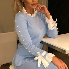 Women Beading Long Sleeve T Shirt Bowknot Buttoned Bell Cuff Tops Spring Light Blue Elegant Casual Bluas Mujer, Sky blue / XL Trend Fashion, Fashion Mode, Womens Fashion, Fashion 2020, Fall Fashion, Style Fashion, Fashion Online, Sleeves Designs For Dresses, Sleeve Designs