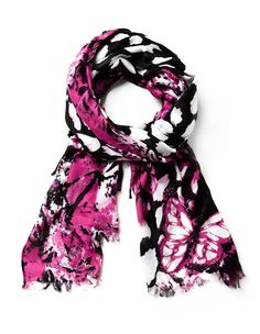 Hot Pink Butterfly Print Scarf