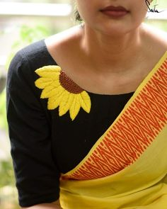 Saree Blouse Neck Designs, Stylish Blouse Design, Fancy Blouse Designs, Boat Neck Saree Blouse, Hand Work Blouse Design, Blouse Patterns, Kleidung Design, Sleeve Designs, Yellow Sunflower