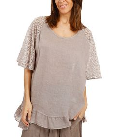 Look what I found on #zulily! Taupe Lace-Accent Ruffle-Hem Button-Up Linen Tunic - Plus #zulilyfinds