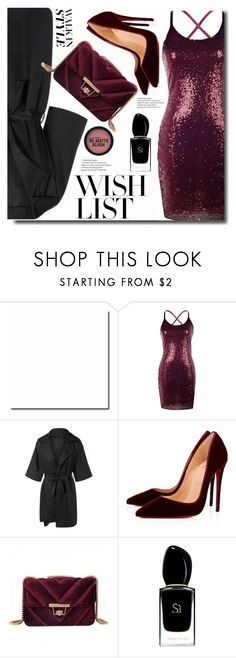 """""""#PolyPresents: Wish List"""" by soks ❤ liked on Polyvore featuring Christian Louboutin, Giorgio Armani, contestentry and polyPresents"""