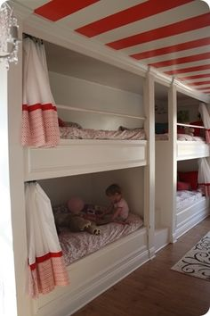 lovinglifeandlilly:    Love the striped ceiling, the built in bunk beds, and the bold colors!