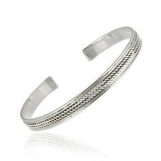 Sterling Silver Double Rope Design Cuff Bangle w/ Polished Double Border SilverSpeck.com. $39.99. Save 43%!