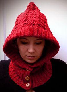 Crochet hood with neckwarmer