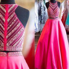 Beauty Prom Dress,2 Pieces Prom Dress,Satin Prom Dress,Beading Prom Dress 17016