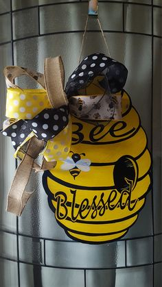 Bumble Bee Door Hanger Wall Decorwelcome To Our Hive Blessed Wood Hand Cut And Painted Beehive