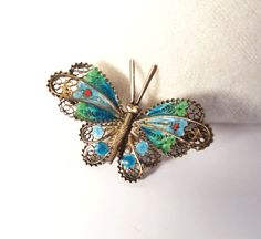 Vintage Butterfly Enamel Pin Brooch  800 by UrbanRenewalDesigns, $24.00