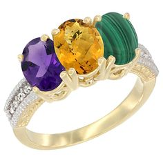 10K Yellow Gold Natural Amethyst, Whisky Quartz and Malachite Ring 3-Stone Oval 7x5 mm Diamond Accent, sizes 5 - 10 ** New and awesome product awaits you, Read it now  : Jewelry Ring Bands