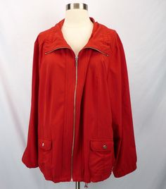 ZENERGY Chicos Red Yoga Jacket 4 XL 1X Zip-Front Soft Lightweight Stretch Pocket #Chicos #BasicJacket