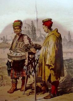 A SUCU (water seller) and a SÍMÍTÇÍ ('simit' bread seller). Istanbul, ca. 1850. Lithography by Amadeo Preziosi (1816 - 1882).