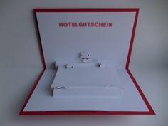 Pop up Karte - Hotel-Gutschein Bitte bei der Bestellung angeben, welches Bett versendet werden soll. Ansonsten wird die Karte mit den 2 Betten in blau geliefert.