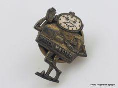 2 Antique Pins!! Bulova Watch Company and Watch Master Man!!