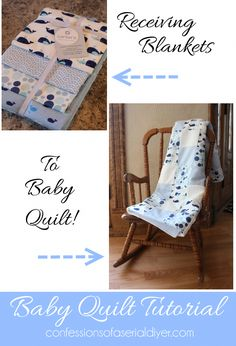 Receiving Blanket Quilt: All the fabrics in a pack of receiving blankets are perfectly coordinated to make a darling baby quilt! Quilting Tips, Quilting Tutorials, Quilting Projects, Baby Sewing Projects, Sewing For Kids, Sewing Crafts, Quilt Baby, Couture Bb, Diy Pour Enfants
