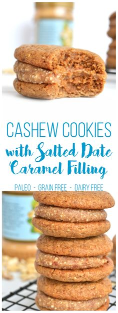 These Cashew Cookies with Salted Date Caramel Filling are Paleo, Grain Free, Dairy Free and SO DELICIOUS! paleo dessert dates Gluten Free Sweets, Paleo Dessert, Healthy Sweets, Healthy Desserts, Dessert Recipes, Sweet Recipes, Whole Food Recipes, Cookie Recipes, Paleo Cookies