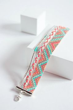 Gorgeous idea for a loom bracelet when the only clasps you have are too long.
