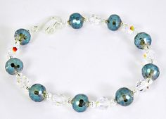Blue Faceted Blue Glass Bead and Crystal Bracelet by BeadsGalore2, $16.00