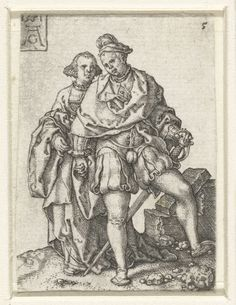 Dansend paar, Heinrich Aldegrever, 1551  Furlined under. Cowmouth shoes. And spangles on the hat