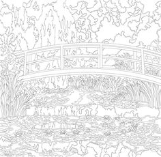 The Water Lily Pond (1899) by Claude Monet: adult coloring page | free image by rawpixel.com