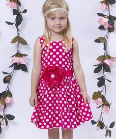 Love this Fuchsia & White Polka Dot Flower Tiered Dress - Toddler & Girls by Mia Belle Baby on #zulily! #zulilyfinds