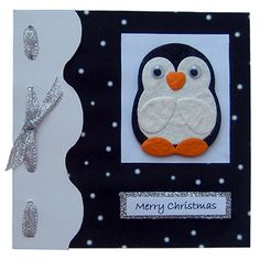 Cute Penguin Christmas card!You can easily make the penguin yourself with some textured paper and eyes :)