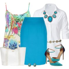Bright Turquoise Pencil Skirt