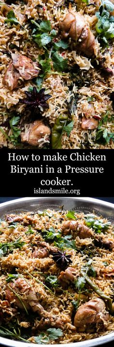 Use your your pressure cooker to make this gorgeous, delectable chicken biryani for any festive occasion including Ramadan. It's quicker, full of flavor and the best meal to feast. #recipe #chicken #rice #easy #Indian #onepot