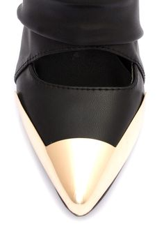 Metal Accent Cut-Out Booties BLACK WHITE - GoJane.com