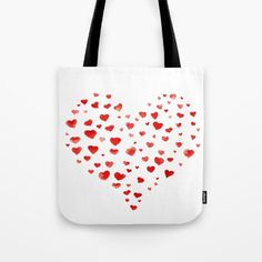I heart you!  Tote Bag by tanjica on Society6  FREE WORLDWIDE SHIPPING TODAY!    love,hearts,watercolor,simple,easy,hand drawn,art,super cool,bag,accessory,red on white,heart shape,happy,joy,in love,head over heals,affection