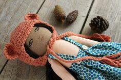 Handmade doll. Fabric doll. Cotton and linen fabric. Crochet bonnet. Hand embroidery. Flowers dress.