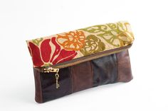 handmade leather clutch,foldover clutch,via Etsy.