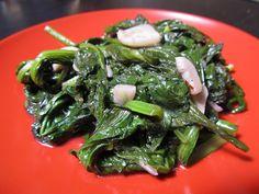 Dandelion greens with double garlic