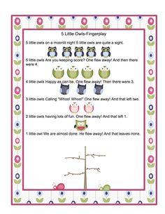 Preschool Printables: Free Owl Songs Printable