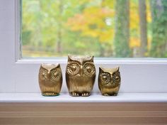 Vintage Brass Owl Family by thewhitepepper on Etsy $38.50