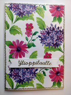 Itse tehty ylioppilas kortti kukkapaperista hopeisilla ääriviivatarroilla